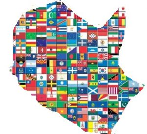 Sådan omtrent Nørrebro i alverdens flag, ingen nævnt, ingen glemt.